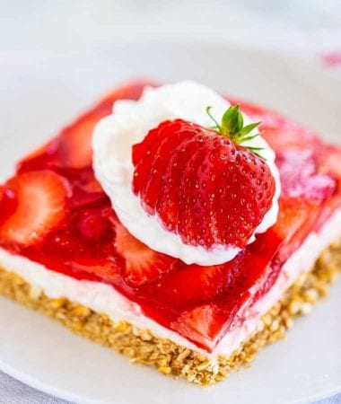 Strawberry Pretzel Salad piece on white plate