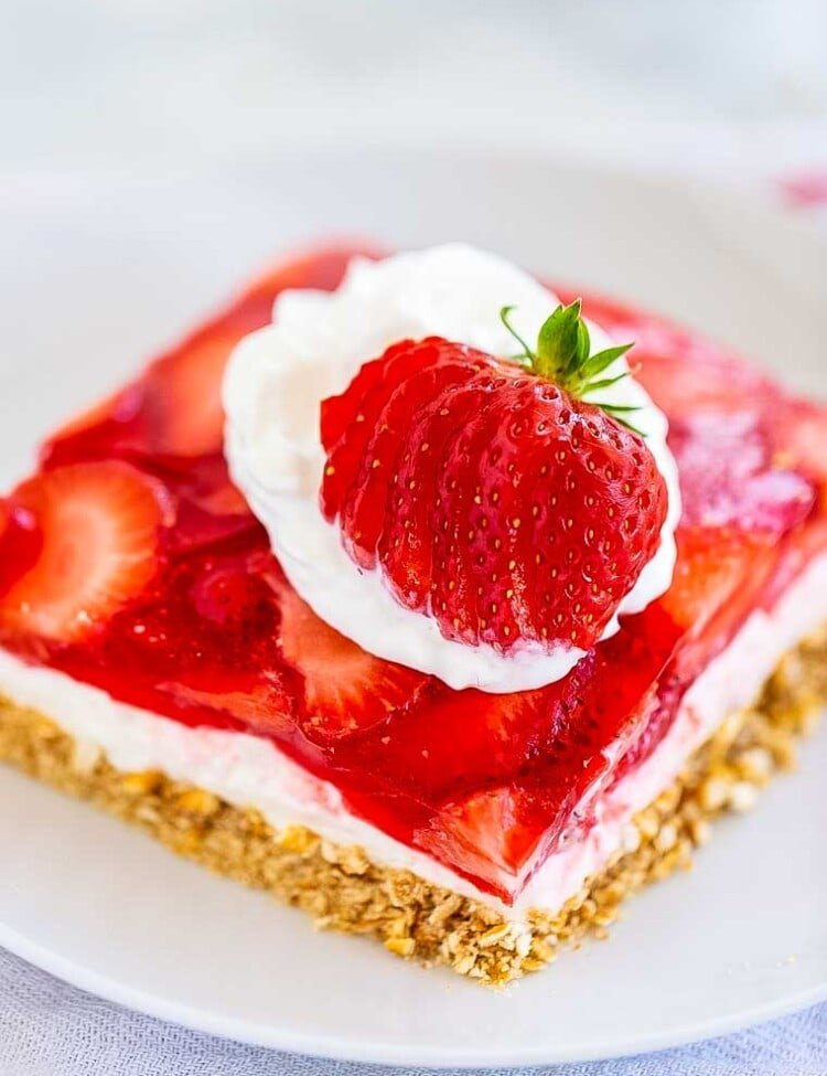 Strawberry Pretzel Salad piece on white plate