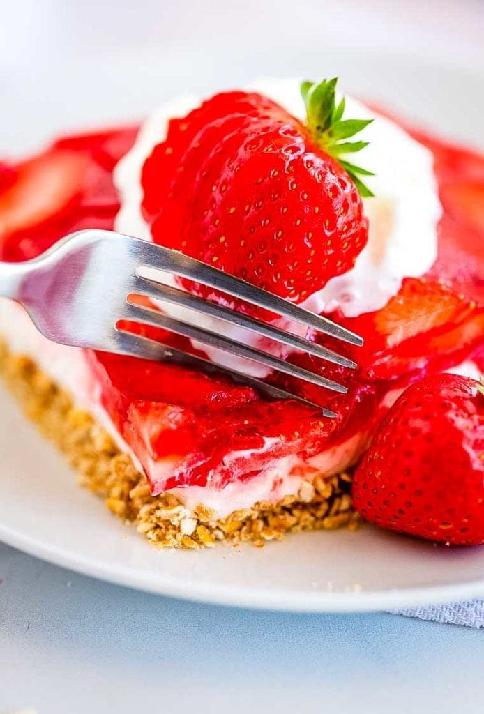 Strawberry Pretzel Salad Dessert with fork