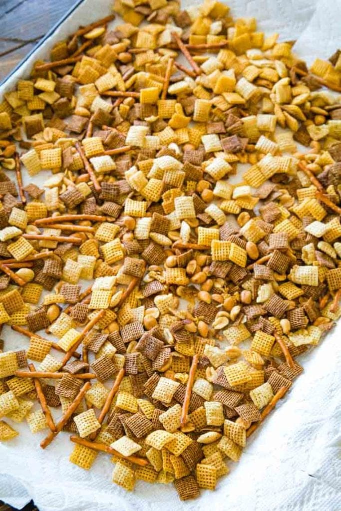 Chex Mix on sheet pan