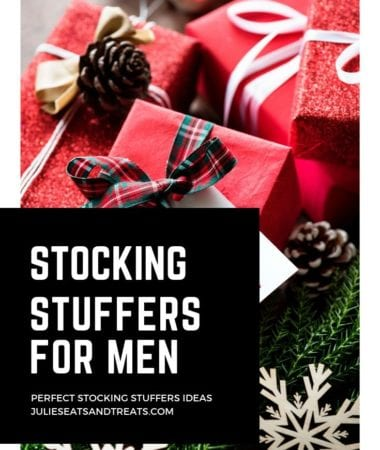 Wrapped gifts and text reading stocking stuffers for men