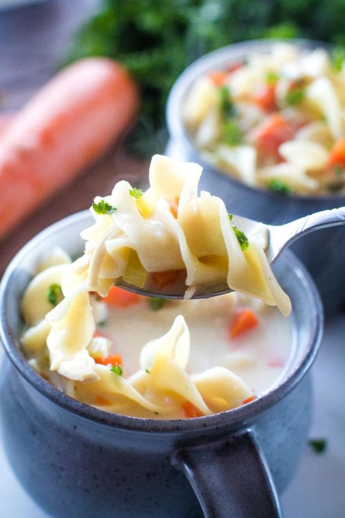 Creamy Chicken Noodle Soup on spoon
