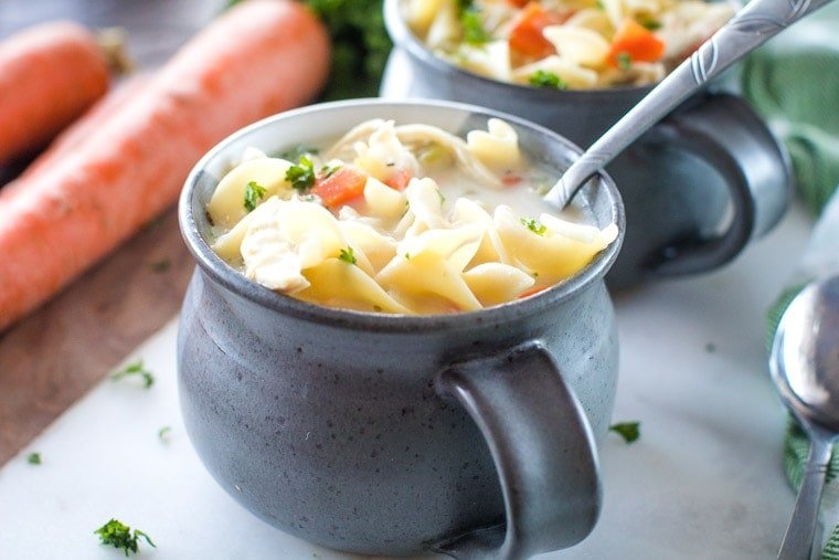 Creamy One Pot Chicken Noodle Soup in gray bowl