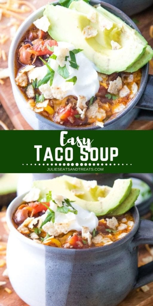 Collage with top image overhead of taco soup in a bowl, middle green banner with white text reading easy taco soup, and bottom image of taco soup with sour cream and avocado slices in a bowl