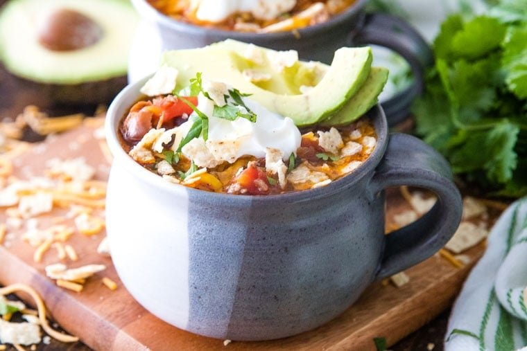 Easy Taco Soup in gray bowl