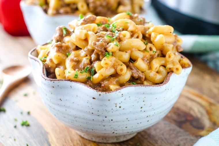 Instant Pot Recipes; Cheeseburger Macaroni in bowl