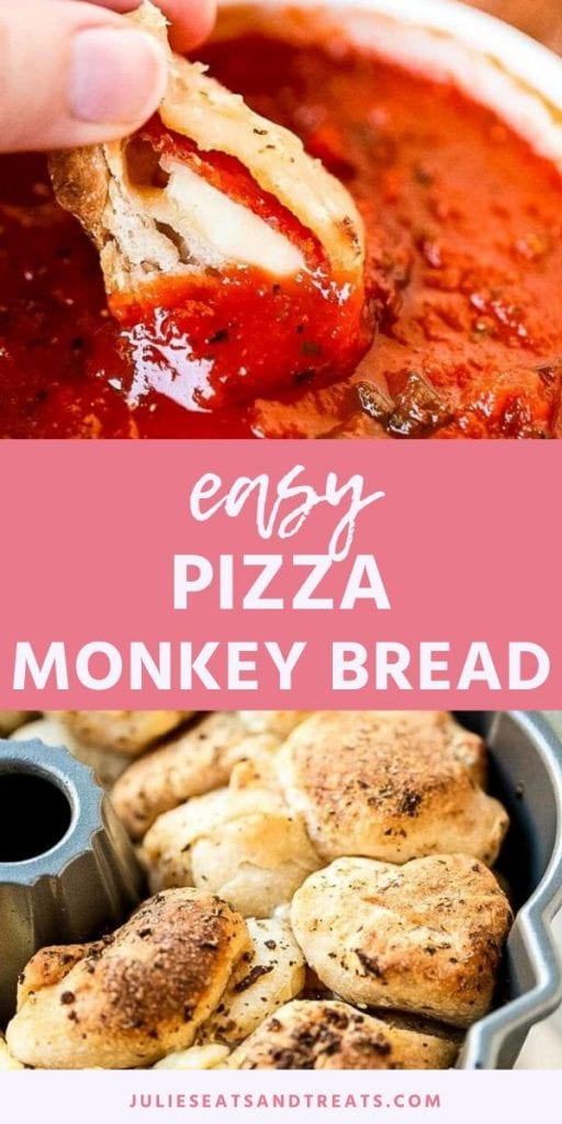 Pinterest Image Pizza Monkey Bread. Top image of a hand dunking a piece of pizza monkey bread into marinara sauce, bottom image of monkey bread in a bunt pan.