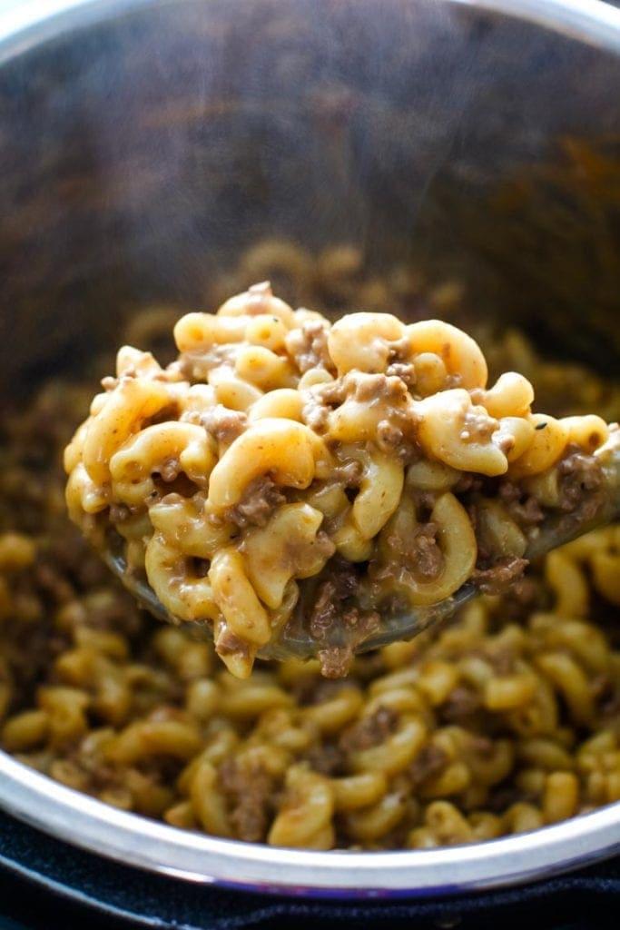 Pressure Cooker Cheeseburger Macaroni in pressure cooker pot