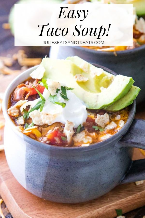 Easy taco soup with sour cream and avocado slices in a bowl