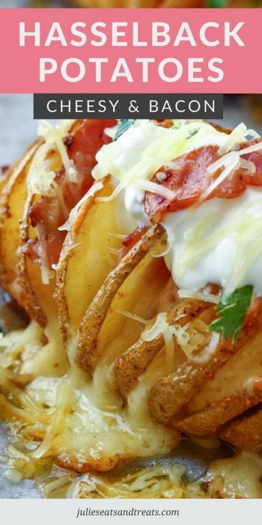 Hasselback Potato topped with sour cream and shredded cheese