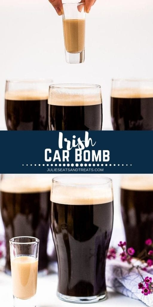 Collage with top image of a shot about to be dropped into a glass of beer, middle navy banner with white text reading irish car bomb, and bottom image of both parts of the car bomb next to each other