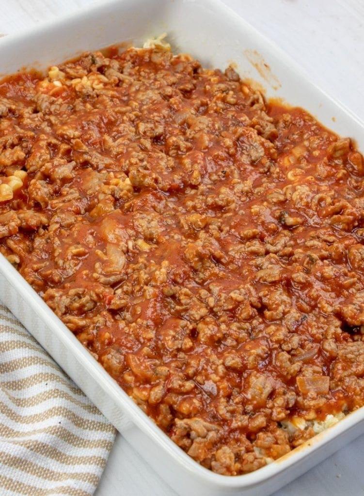 Meat sauce on lasagna casserole