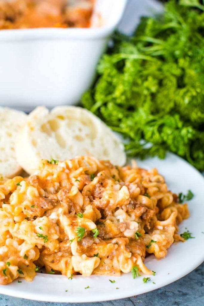 Lasagna Casserole on white plate