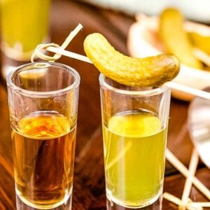 Pickleback Shot on table