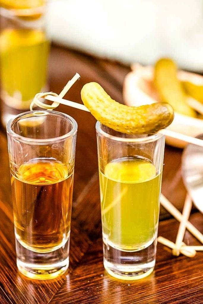 A shot of whiskey and a shot of pickle juice makes a Jameson Pickleback