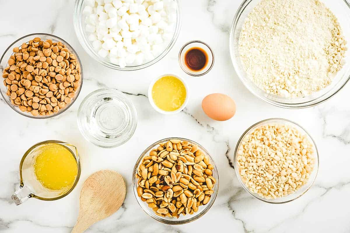 Overhead Image of Salted Nut Roll Bars Ingredients