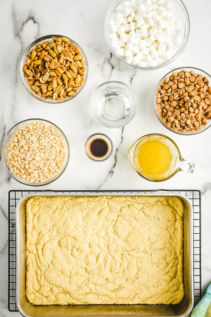 Overhead image of baked cake mix crust for bars