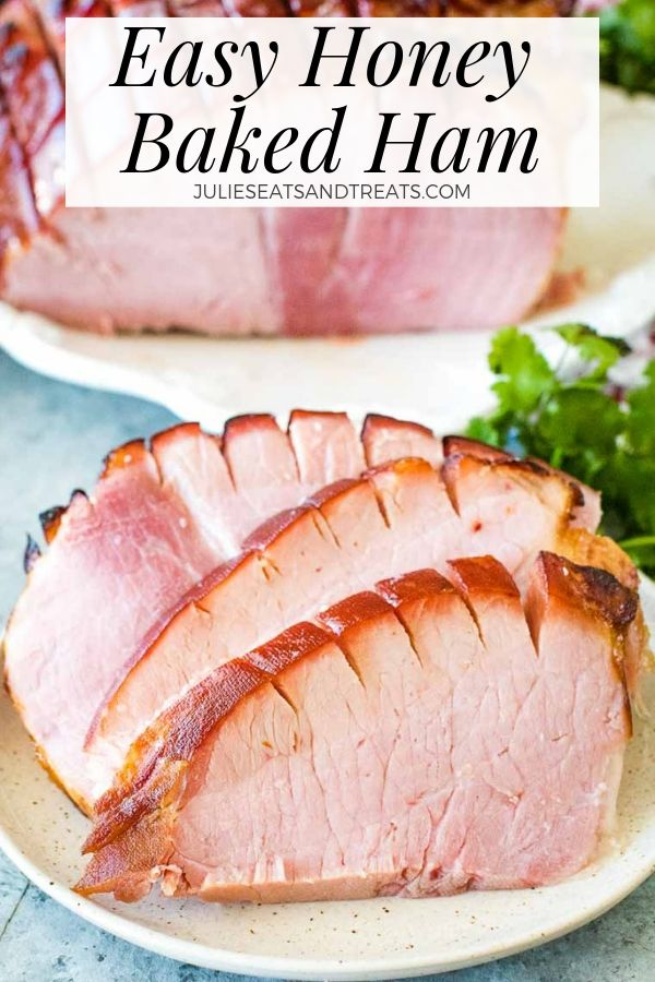 Easy honey baked ham slices on a plate