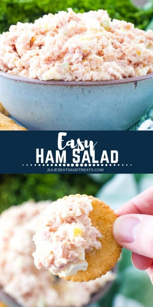 Collage with top image of ham salad in a blue bowl, middle navy banner with white text reading easy ham salad, and bottom image of a hand holding a cracker with ham salad on it