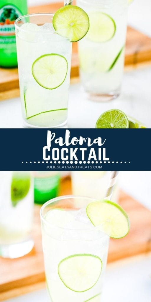 Collage with top image of two palomas in tall glasses, middle navy banner with white text reading paloma cocktail, and bottom image of a glass of paloma with lime slices