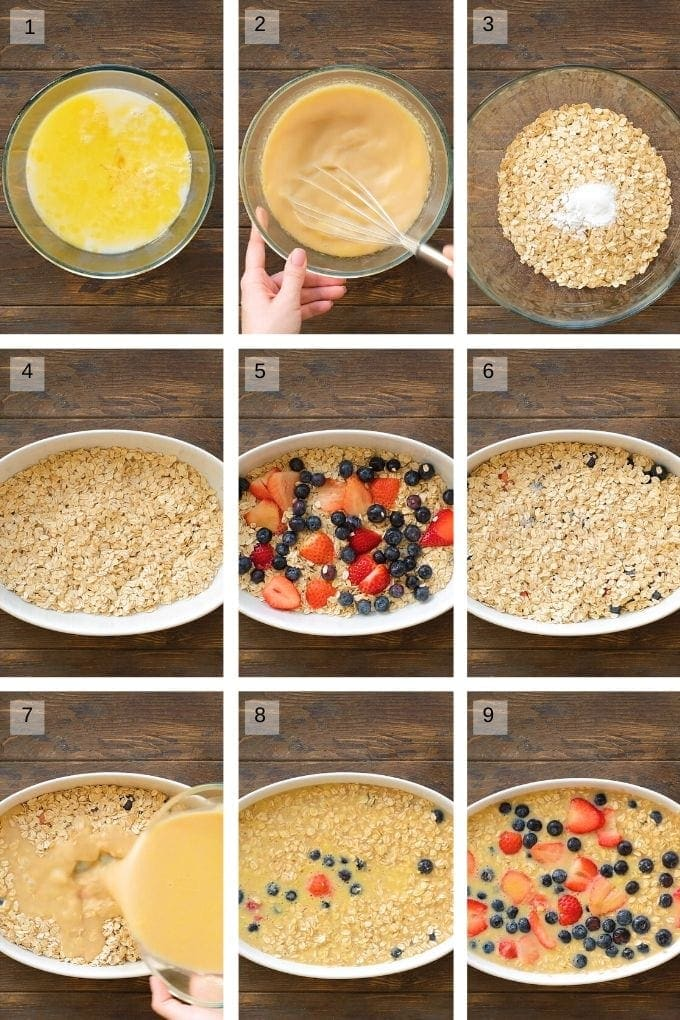 Collage of 9 photos showing how to make baked oatmeal with berries.