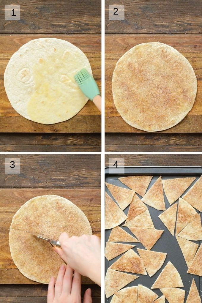 Collage of four images showing how to make cinnamon tortilla chips
