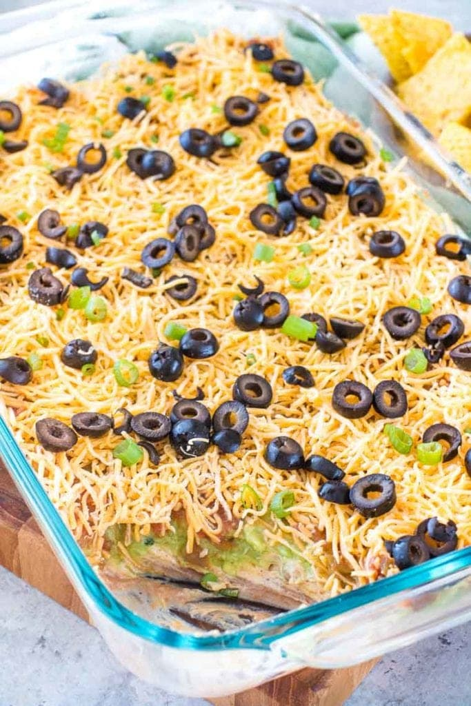 7 Layer Bean Dip in casserole dish
