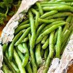 Green beans in aluminum foil