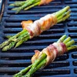 Grilled bacon wrapped asparagus on the grill