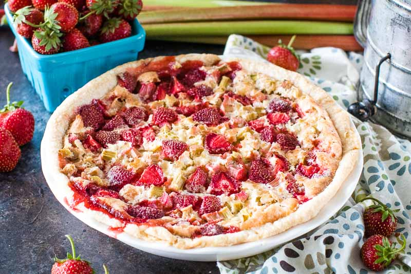 Homemade Strawberry Rhubarb Pie in pie plate