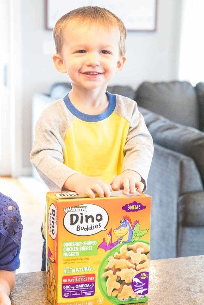 Dino Buddies Chicken Nugget box with child
