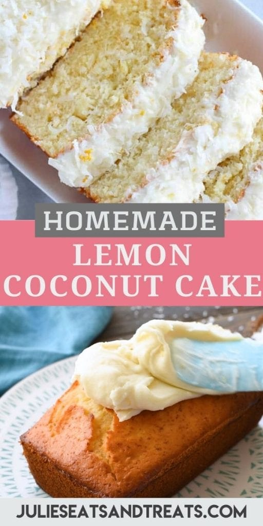 Pinterest image with lemon coconut cake slices in top photo, text overlay of recipe name with a pink and gray background with the cake being frosted in bottom image.
