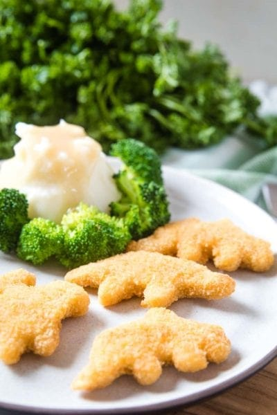 Plate with Chicken Nuggets and mashed potatoes