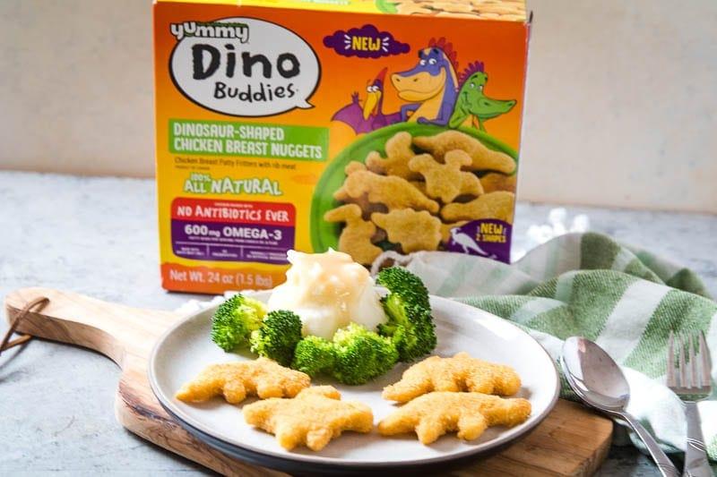 Dino Buddies on plate with mashed potato volcano