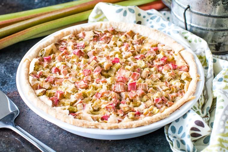 Rhubarb Pie in pie plate