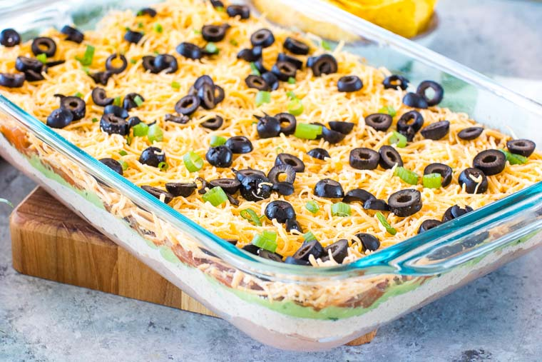 Seven Layer Dip in casserole dish
