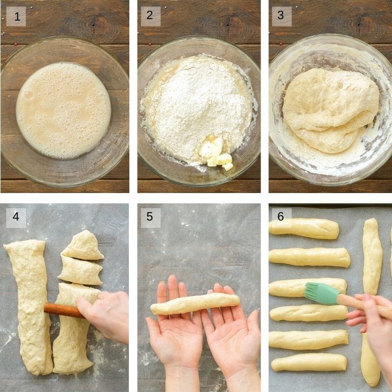 Collage showing steps to prepare breadsticks