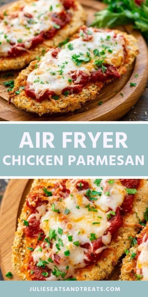 Collage with top image of air fryer chicken parmesan on a cutting board, middle blue banner with white text reading air fryer chicken parmesan, and bottom image overhead of chicken parmesan