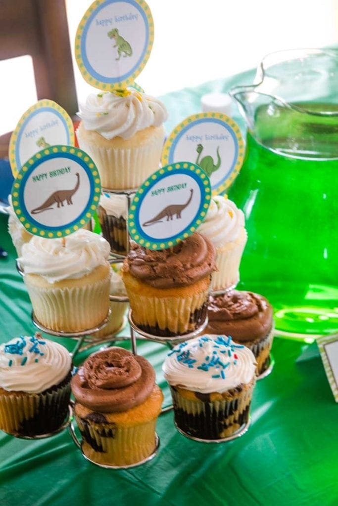 Cupcake Tower with Dinosaur Toppers