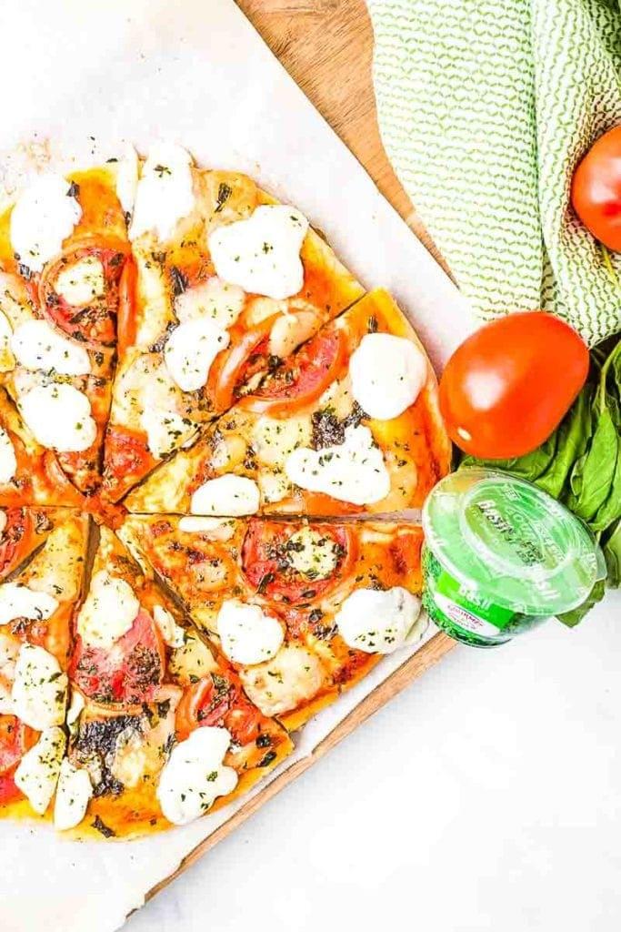 Easy Margherita Pizza prepared