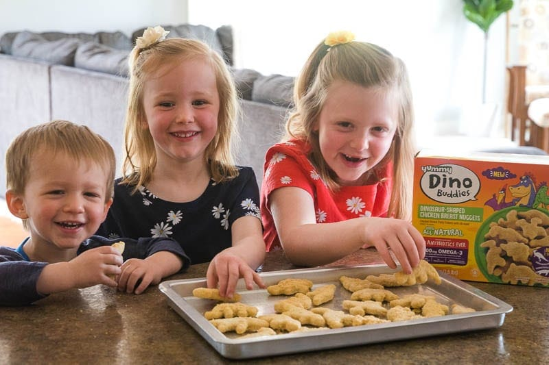 Children with Dino Buddies Chicken Nuggets