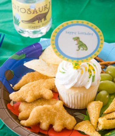 Birthday Plate of Dino Buddies Chicken Nuggets
