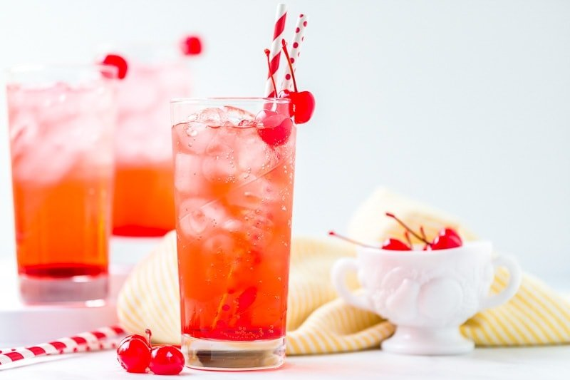 Glass filled with Shirley Temple Recipe