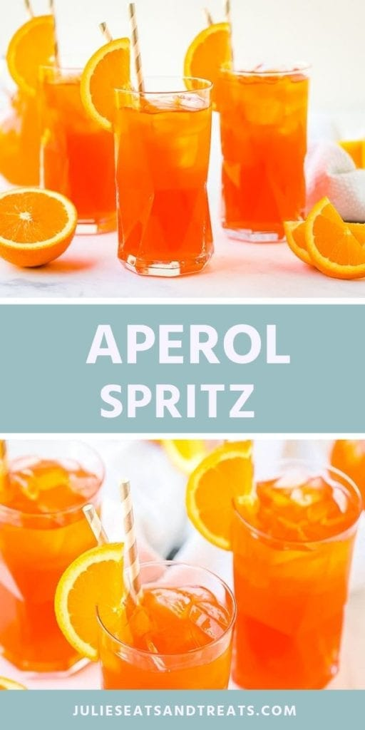 Collage with top image of three aperol spritz drinks in glasses with orange slices, middle blue banner with white text reading aperol spritz, and bottom image overhead of three glasses of aperol spritz with straws