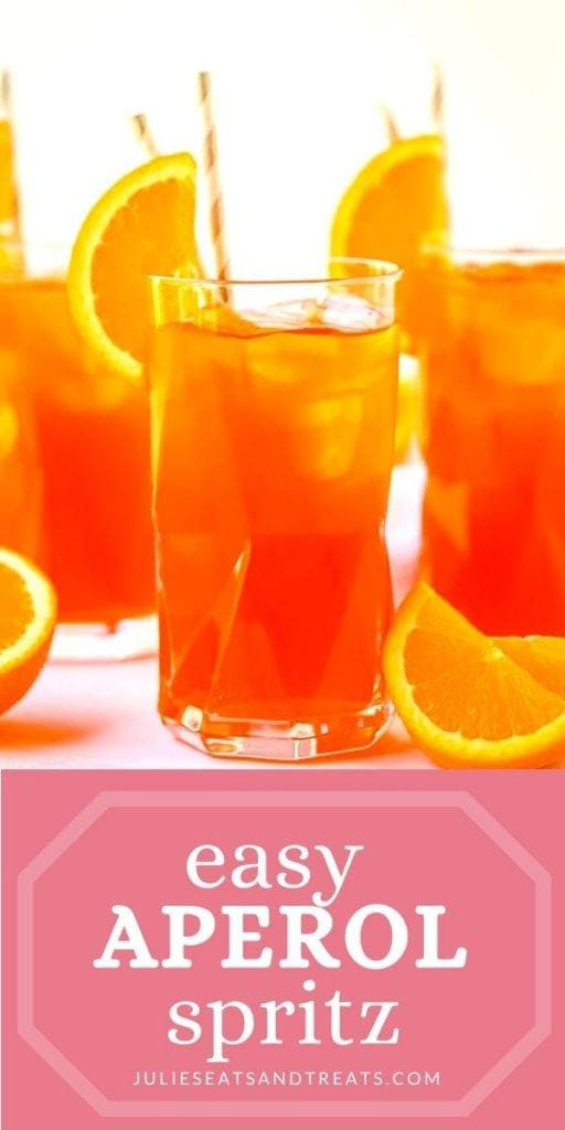 Pinterest Image for Aperol Spritz with photo of drink on top and text overlay on bottom