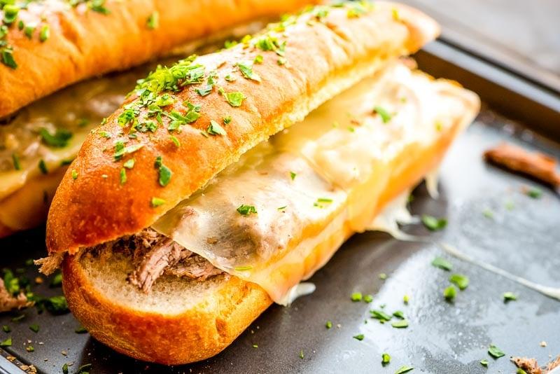 Easy French Dip Sandwich on sheet pan