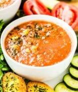 Gazpacho in white bowl