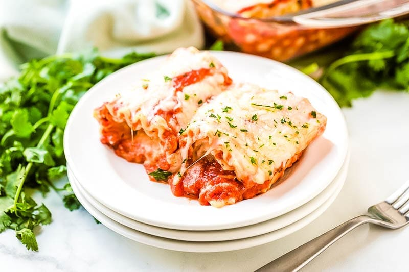 Lasagna Roll Ups Recipe on white plate