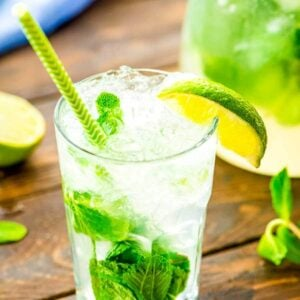mojito in glass on board