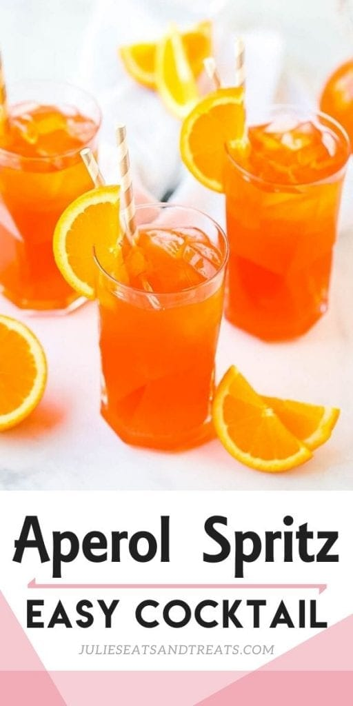 Pinterest Image for Aperol Spritz with of cocktail on top and text overlay on bottom
